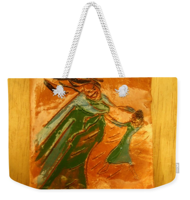 Jesus Weekender Tote Bag featuring the ceramic art Love Chain - Tile by Gloria Ssali