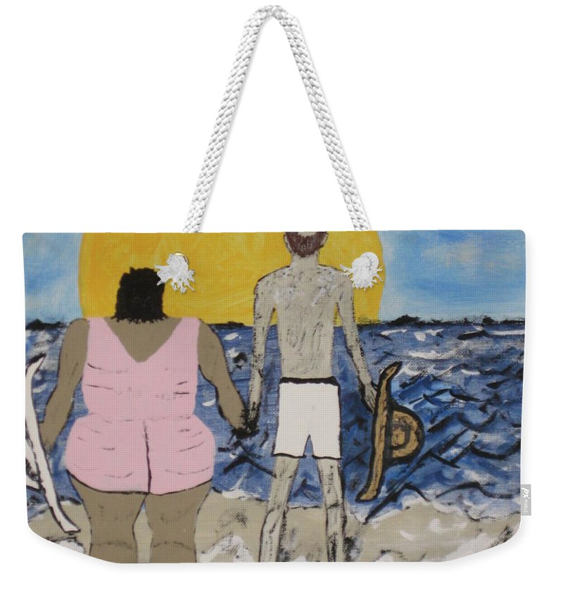 Love Weekender Tote Bag featuring the painting Love Comes In All Sizes by Jeffrey Koss