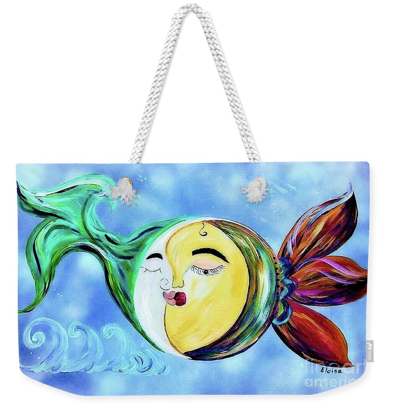 Contemporary Weekender Tote Bag featuring the painting Love Connect - You Are My Moon And Sun by Eloise Schneider