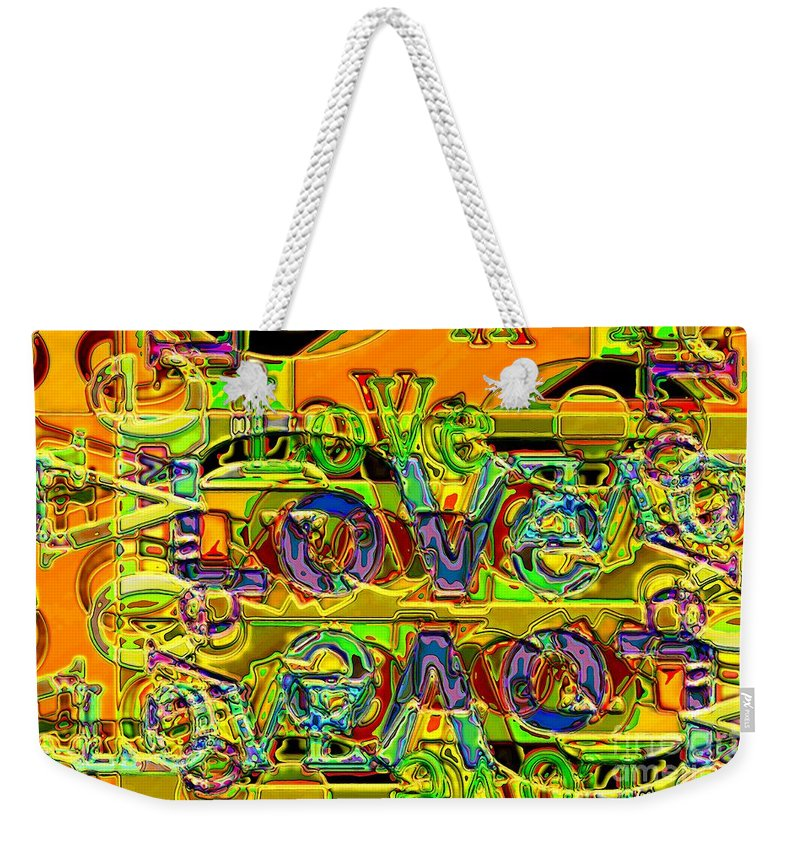 Abstract Weekender Tote Bag featuring the digital art Love Contest by Ron Bissett