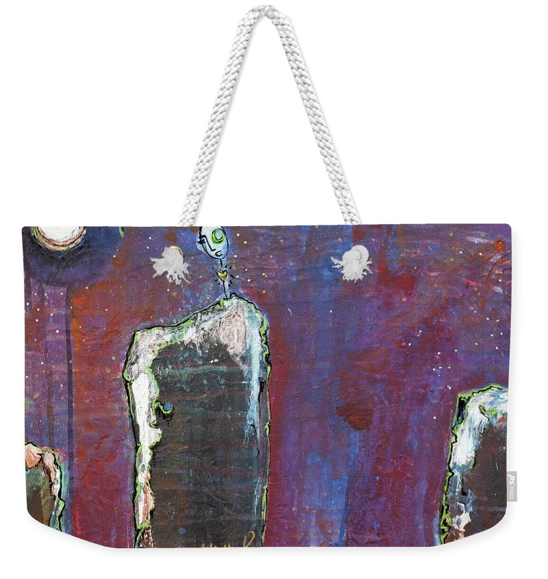 Lollipop Weekender Tote Bag featuring the painting Love Do Not Leave Me Alone by Laurie Maves ART