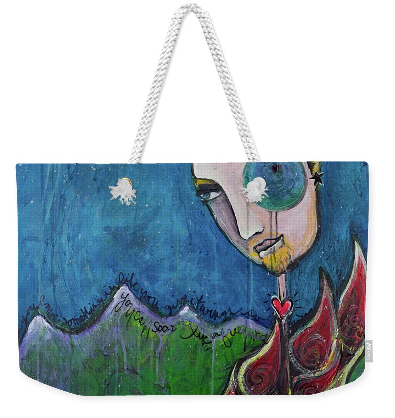 Birdman Weekender Tote Bag featuring the painting Love For Birdman by Laurie Maves ART