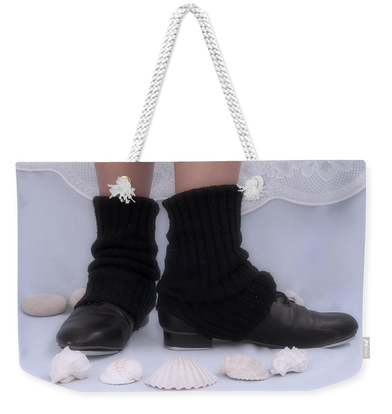 Black Weekender Tote Bag featuring the photograph Love For Tap Dance Shoes In Dance Warmers by Pedro Cardona Llambias