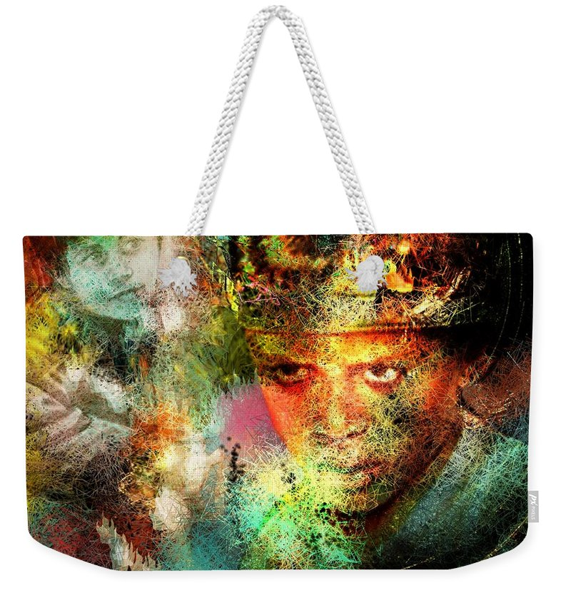Portrait Weekender Tote Bag featuring the painting Love For The Boy King by Miki De Goodaboom