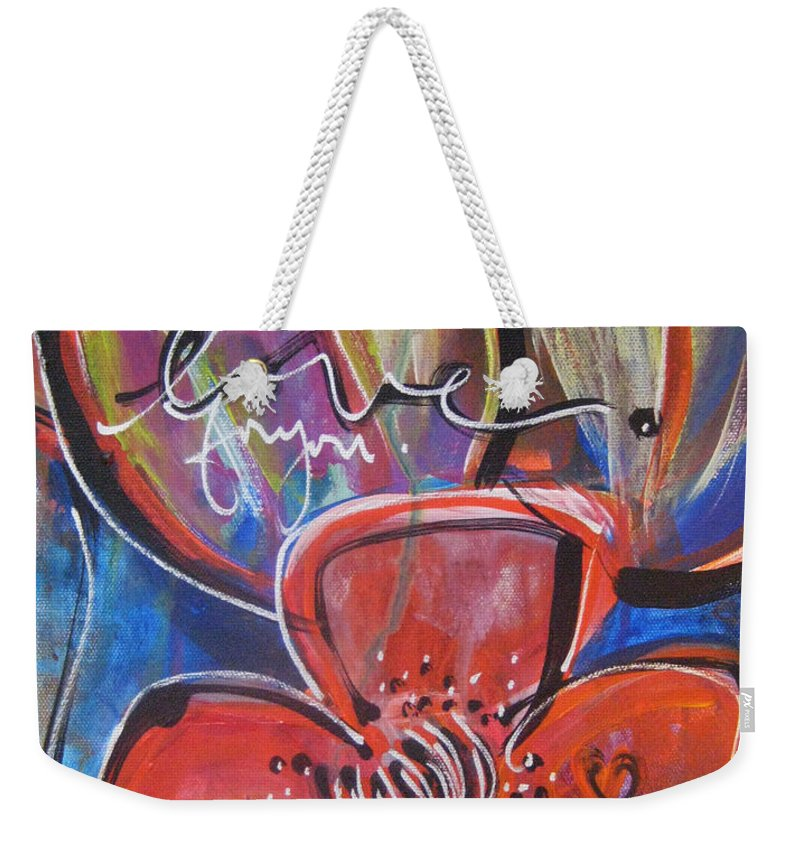 Poppies Weekender Tote Bag featuring the painting Love For You No.1 by Laurie Maves ART
