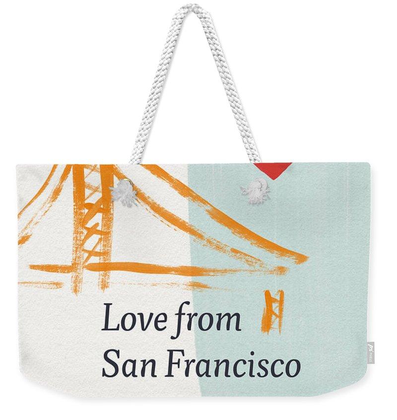 Love Weekender Tote Bag featuring the painting Love From San Francisco- Art by Linda Woods by Linda Woods