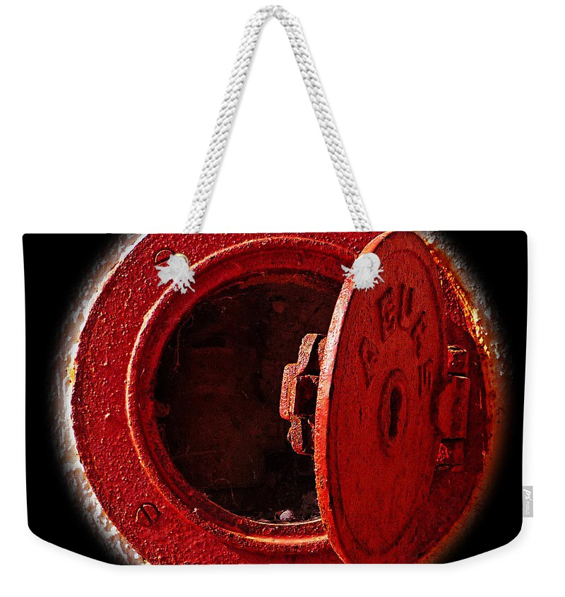 Manhole Weekender Tote Bag featuring the photograph Love Hurts by Charles Stuart
