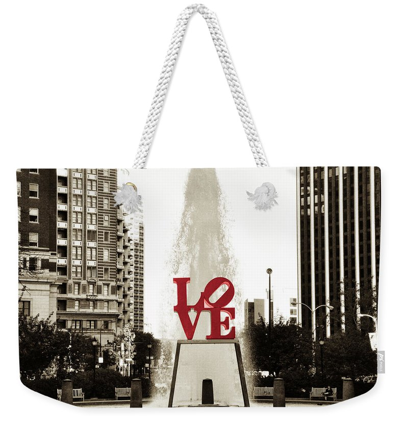Love Weekender Tote Bag featuring the photograph Love In Philadelphia by Bill Cannon