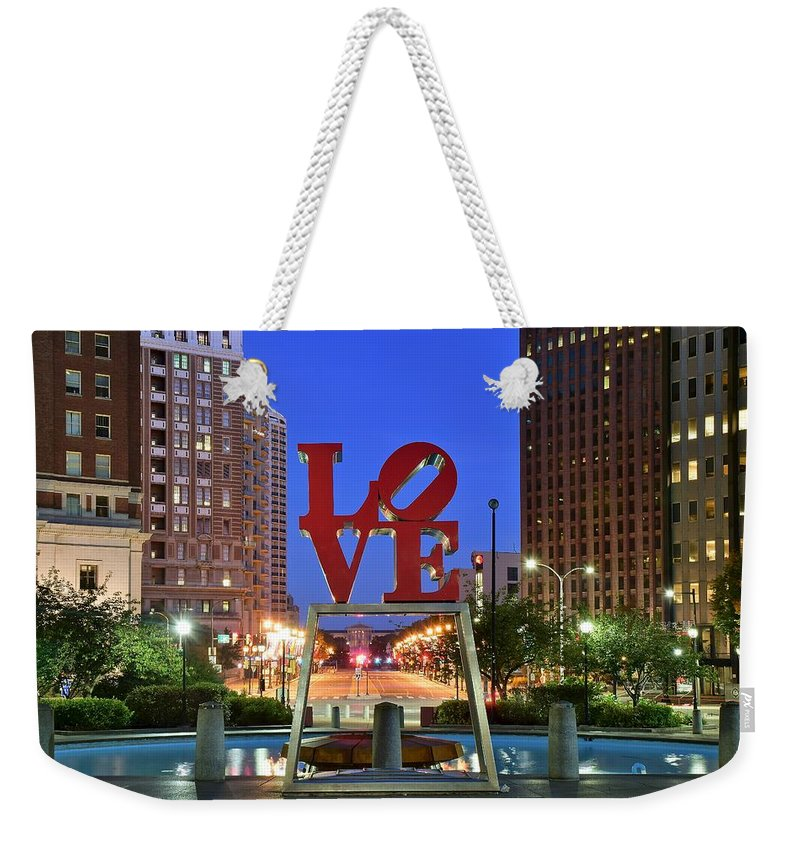 Love Weekender Tote Bag featuring the photograph Love In Philadelphia by Frozen in Time Fine Art Photography