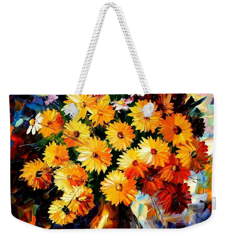 Flowers Weekender Tote Bag featuring the painting Love Irradiation by Leonid Afremov
