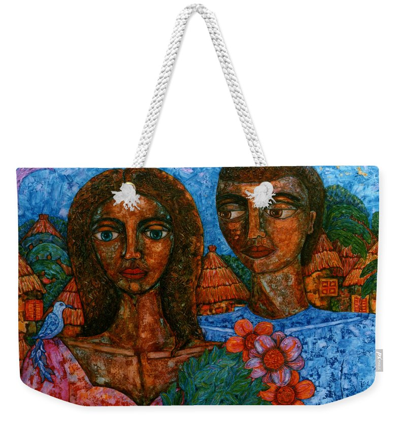 Love Weekender Tote Bag featuring the painting Love Is Like A Bird by Madalena Lobao-Tello