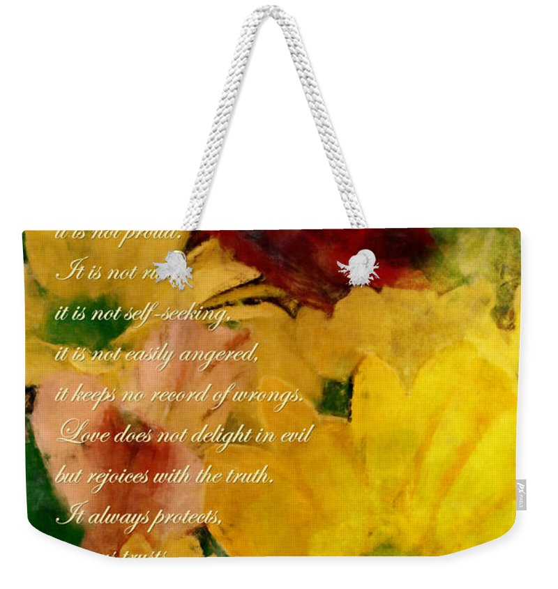 Bible Weekender Tote Bag featuring the digital art Love Is Patient by Kim Groseclose