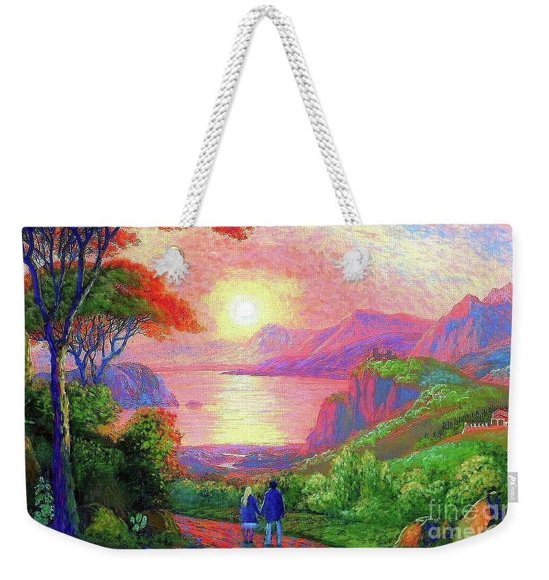 Sun Weekender Tote Bag featuring the painting Love is Sharing the Journey by Jane Small