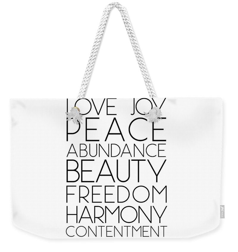 Love Weekender Tote Bag featuring the mixed media Love Joy Peace Beauty Virtues by Studio Grafiikka