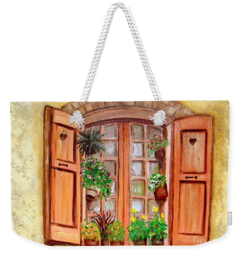 Windows Weekender Tote Bag featuring the painting Love Nest by Laurie Morgan