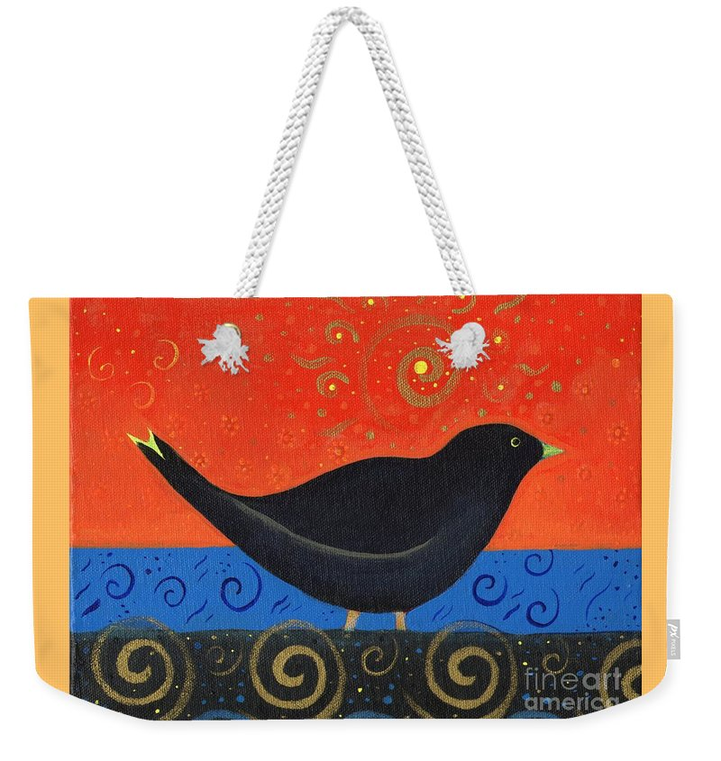 Black Bird Weekender Tote Bag featuring the painting Love Of Birds by Helena Tiainen