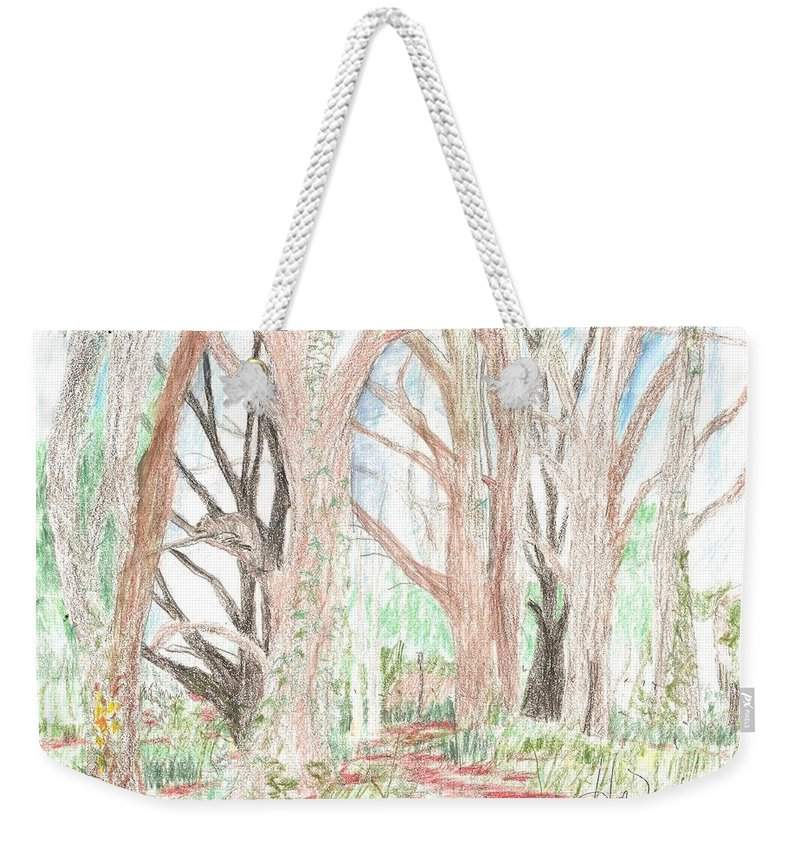 Squire Weekender Tote Bag featuring the drawing Love Of Nature by Hal Newhouser