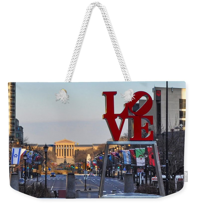Love Weekender Tote Bag featuring the photograph Love Park And The Parkway In Philadelphia by Bill Cannon