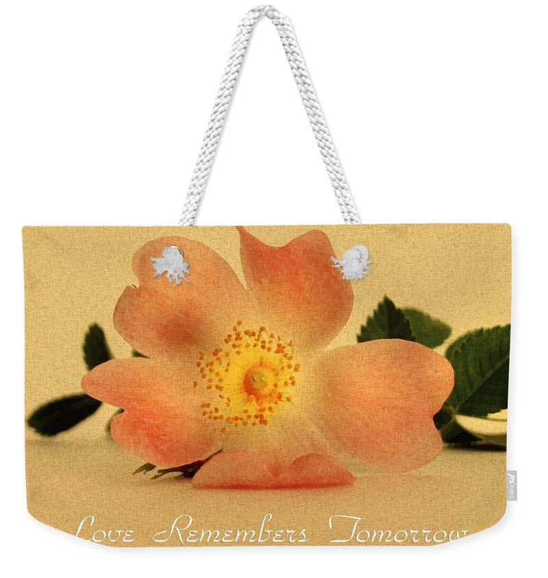 Flower Weekender Tote Bag featuring the mixed media Love Remembers Tomorrow by Georgiana Romanovna