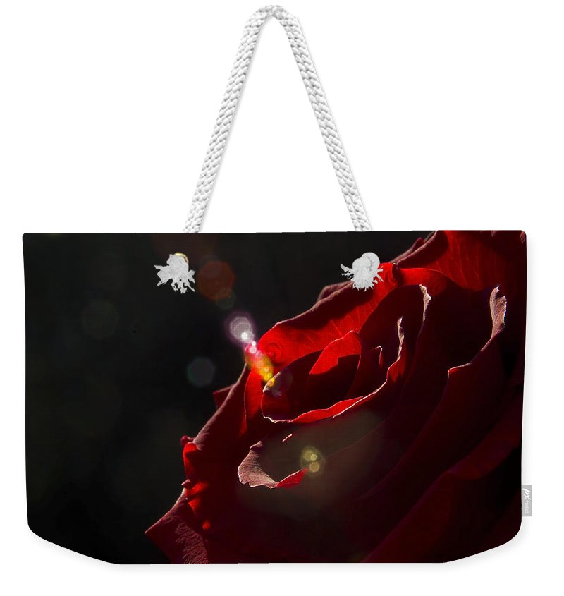 Black Weekender Tote Bag featuring the photograph Love Rose by Svetlana Sewell