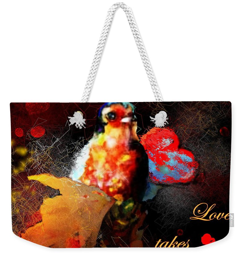 Love Weekender Tote Bag featuring the painting Love Takes Flight by Miki De Goodaboom