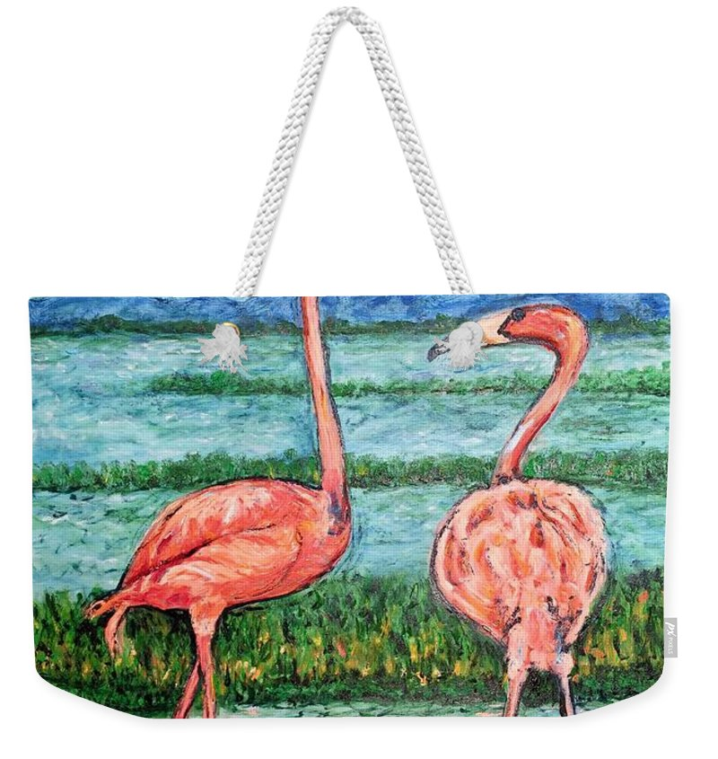 Lanscape Weekender Tote Bag featuring the painting Love Talk by Ericka Herazo