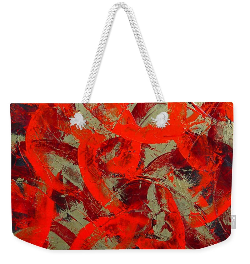 Abstract Weekender Tote Bag featuring the painting Love Trails by Dean Triolo