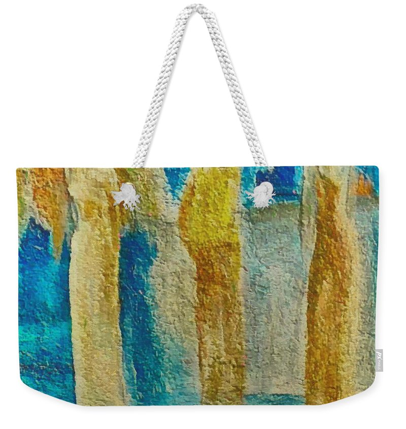 Mixed Media Weekender Tote Bag featuring the mixed media Love Triangle by Dragica Micki Fortuna