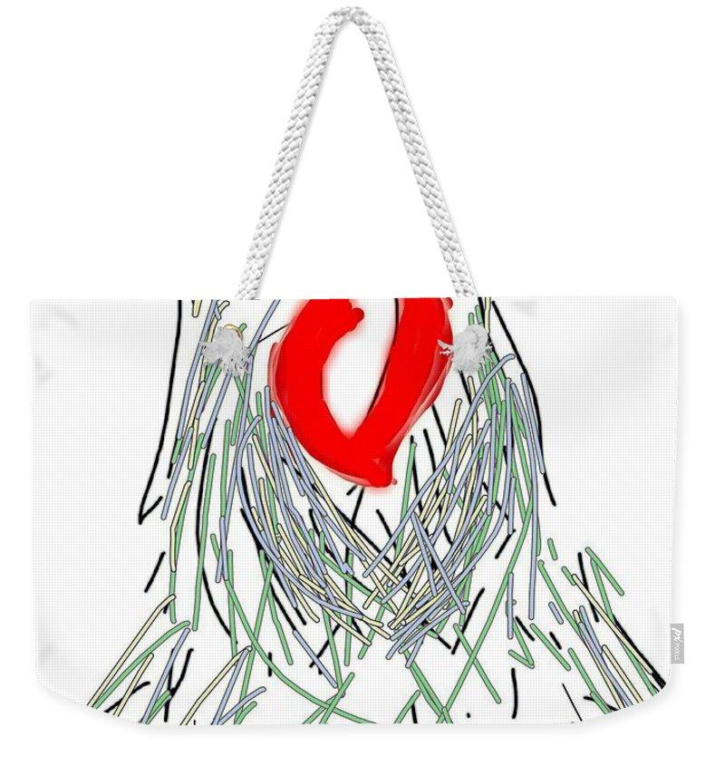 Drawing Weekender Tote Bag featuring the digital art Lovebirds by Kathy Barney
