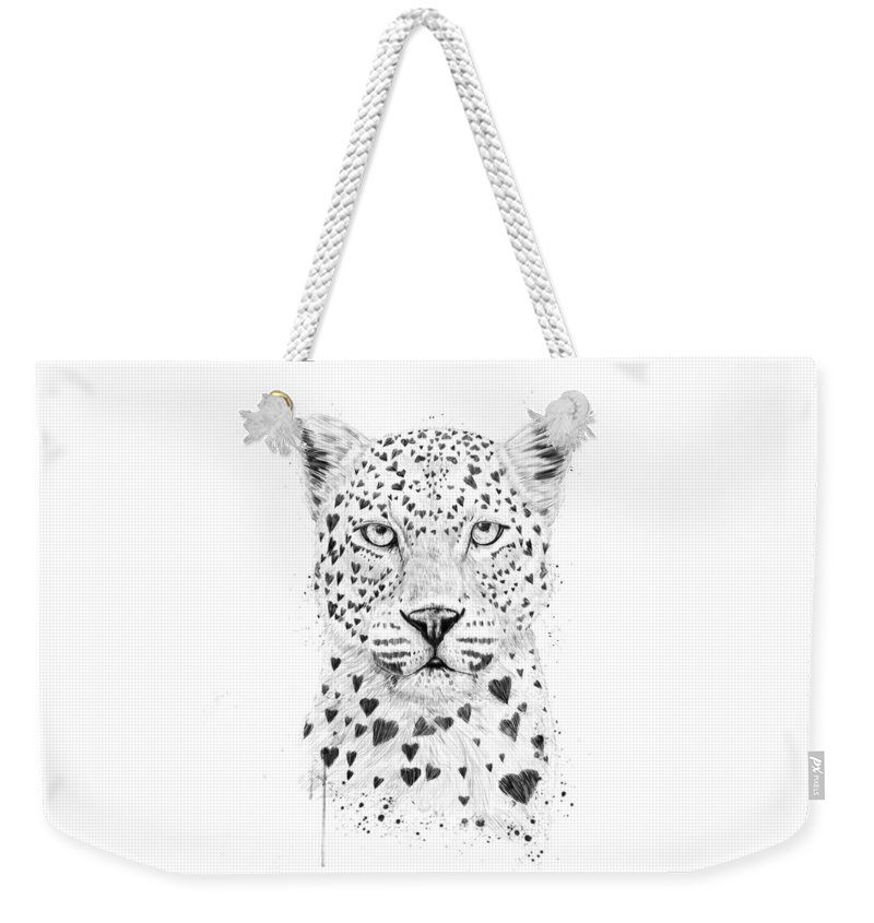 Leopard Weekender Tote Bag featuring the drawing Lovely leopard by Balazs Solti