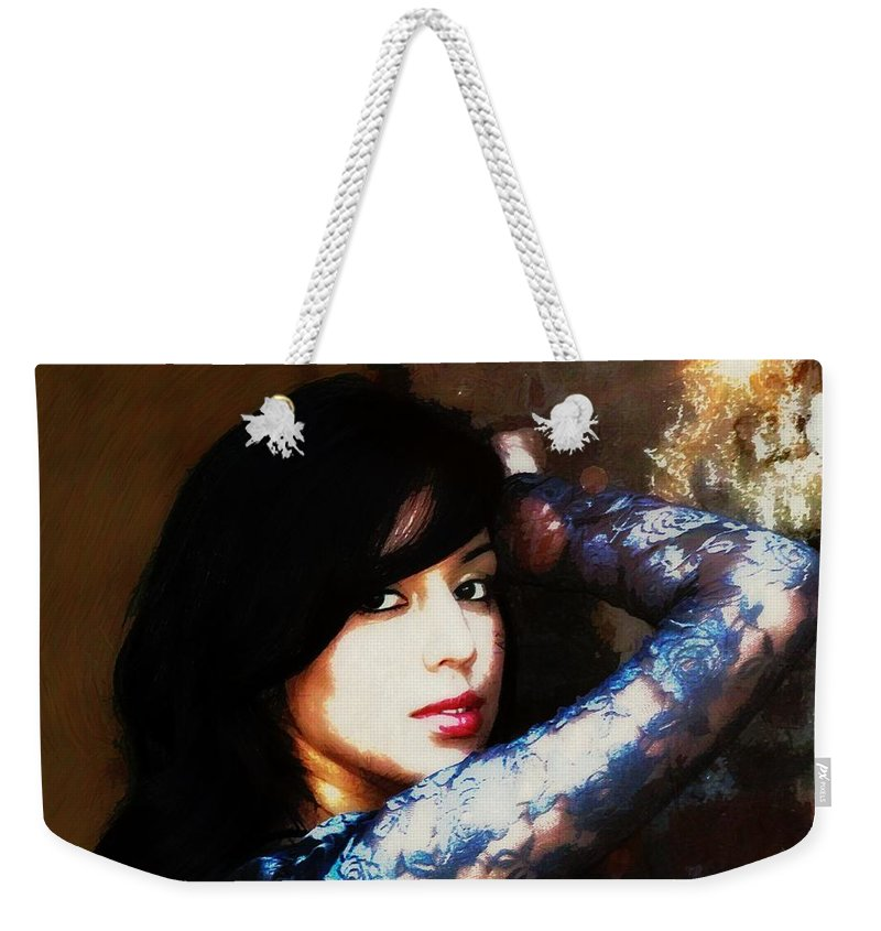 Woman Weekender Tote Bag featuring the photograph Lovely Sarah by Sharon Johnston