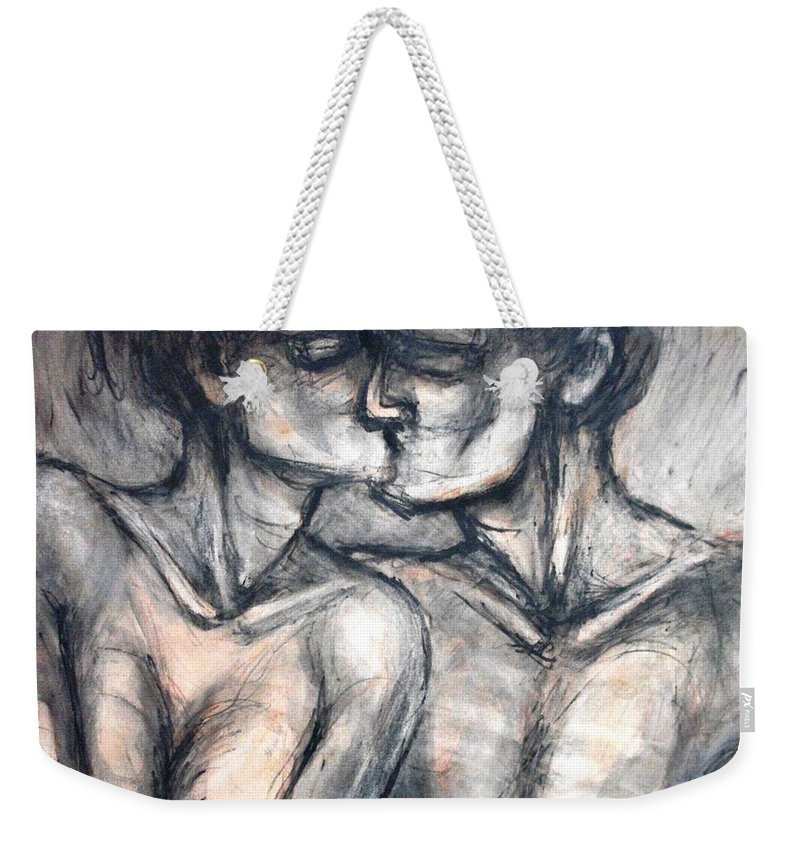 Original Weekender Tote Bag featuring the painting Lovers - Kiss by Carmen Tyrrell