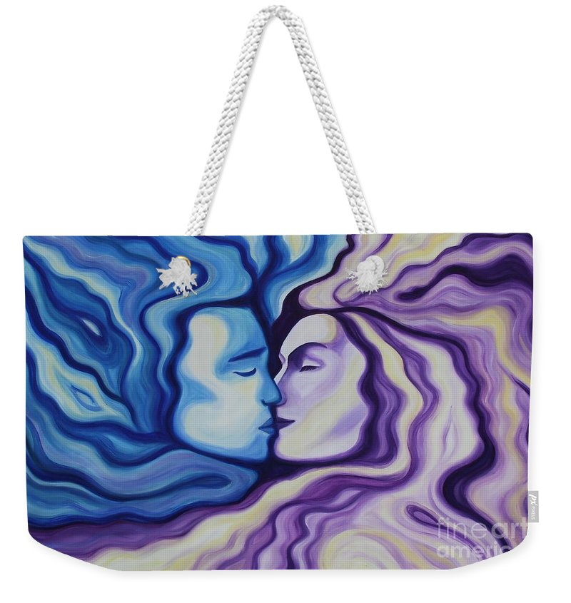 Acrylic Weekender Tote Bag featuring the painting Lovers In Eternal Kiss by Jindra Noewi