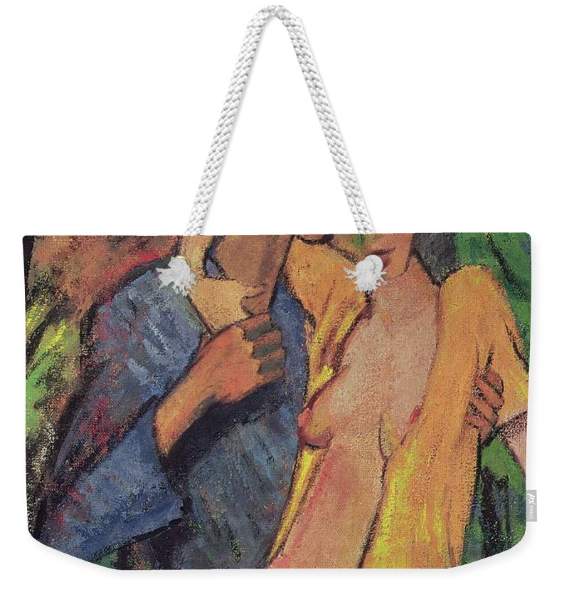 Lovers Weekender Tote Bag featuring the pastel Lovers by Otto Muller