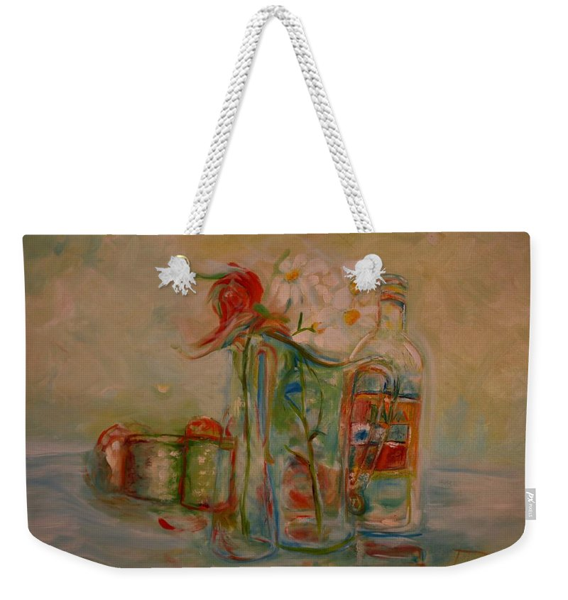 Rose Weekender Tote Bag featuring the painting Lovers Picnic by Jack Diamond