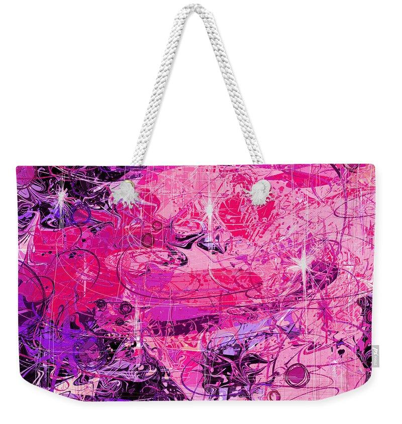 Abstract Weekender Tote Bag featuring the digital art Lovers by Rachel Christine Nowicki
