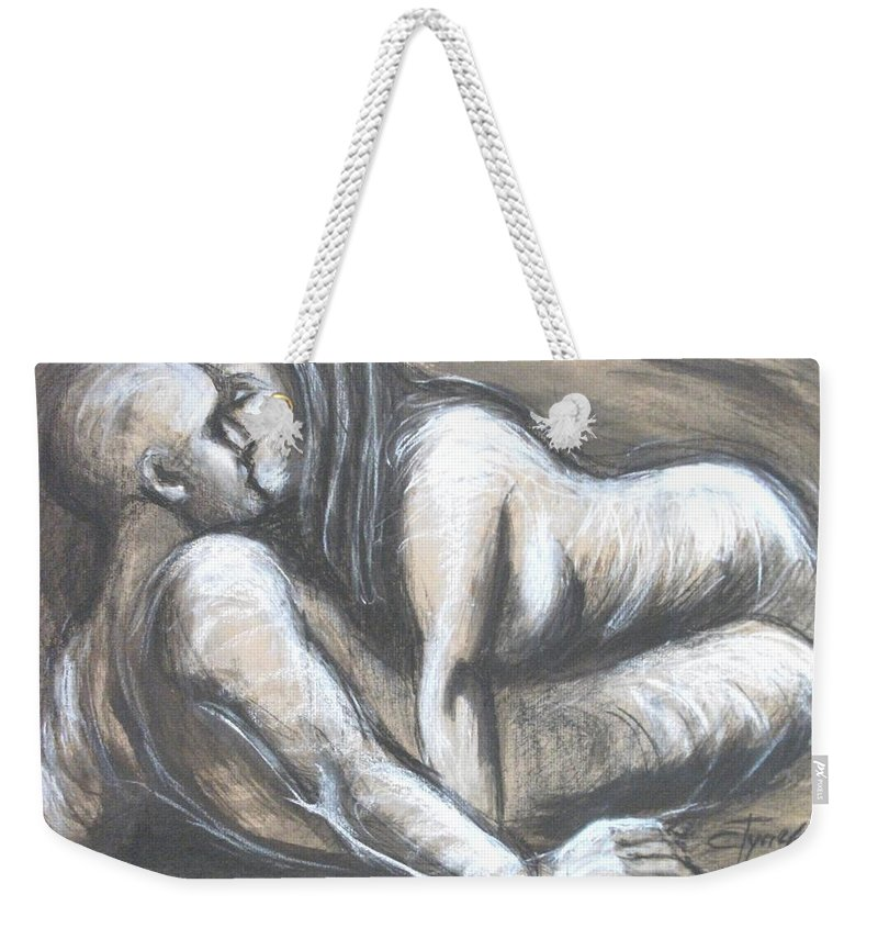 Original Weekender Tote Bag featuring the painting Loves - Loving You by Carmen Tyrrell