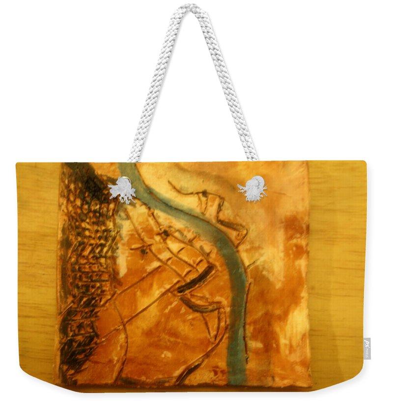 Jesus Weekender Tote Bag featuring the ceramic art Loves Smile - Tile by Gloria Ssali