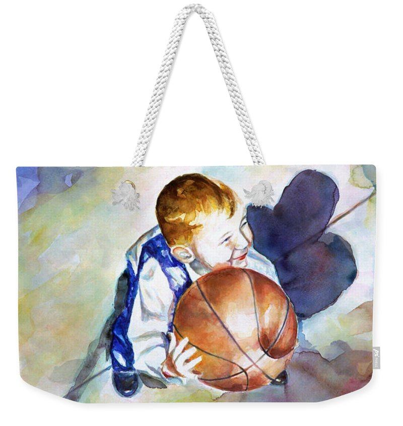 Watercolor Weekender Tote Bag featuring the painting Loves the Game by Shannon Grissom