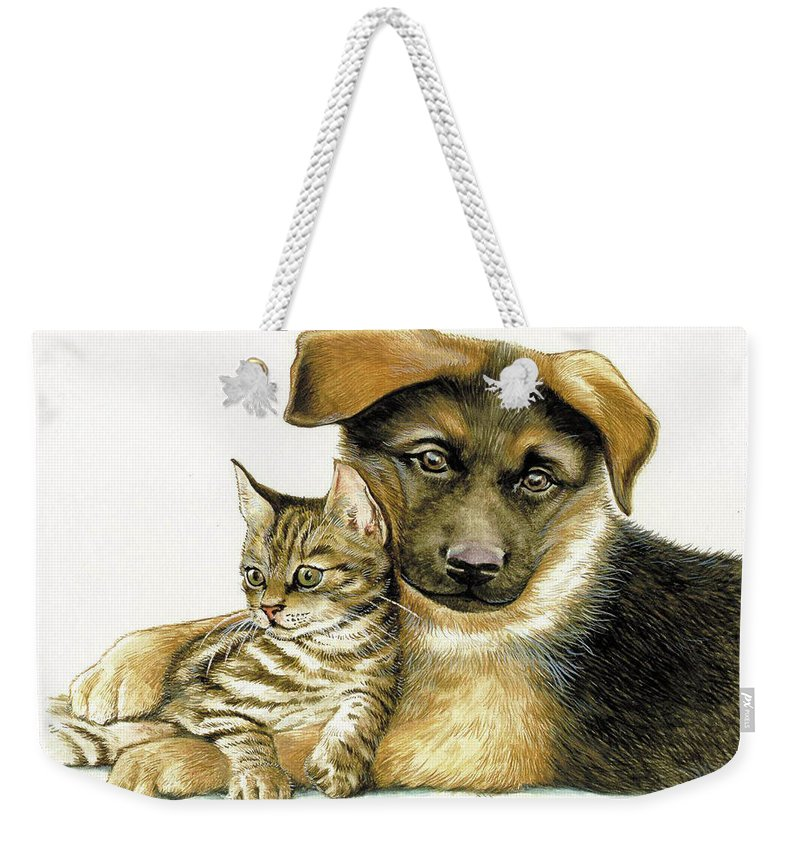 Cats Weekender Tote Bag featuring the painting Loving Cat And Dog by Johannes Margreiter