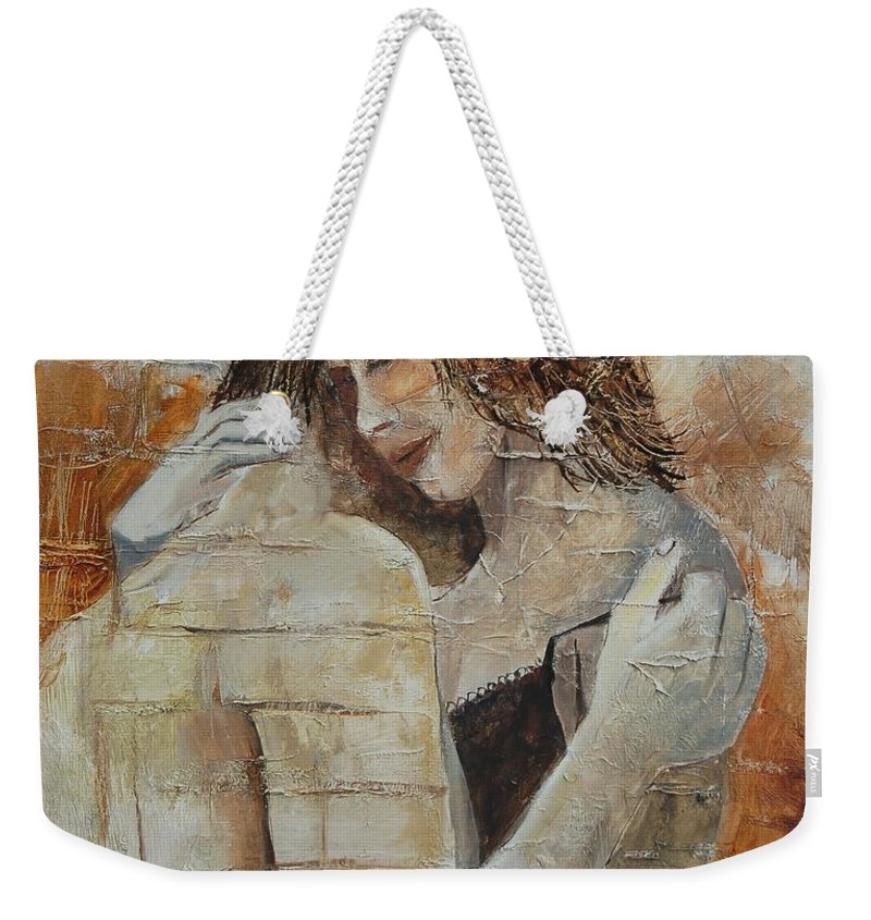 Girl Weekender Tote Bag featuring the painting Loving Couple by Pol Ledent