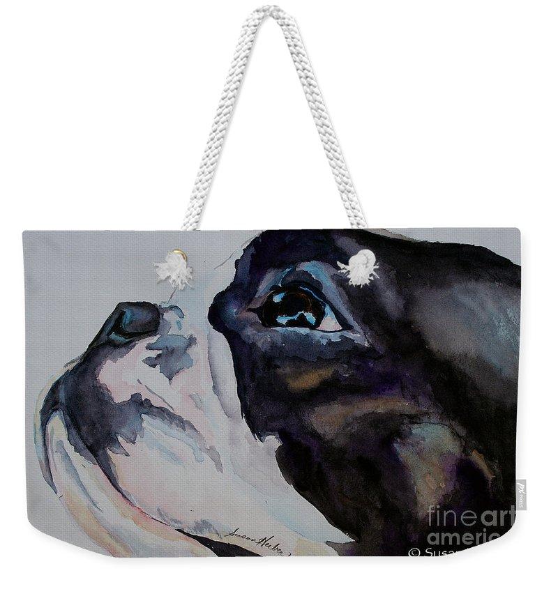 Boston Terrier Weekender Tote Bag featuring the painting Loving Soul by Susan Herber