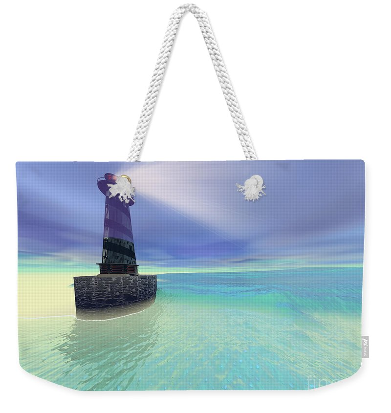 Lighthouse Weekender Tote Bag featuring the painting Low Fog by Corey Ford