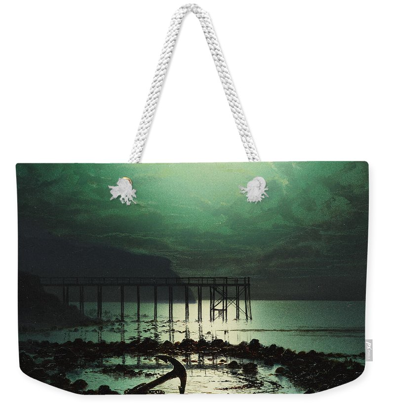 Seascape Weekender Tote Bag featuring the painting Low Tide By Moonlight by WHJ Boot