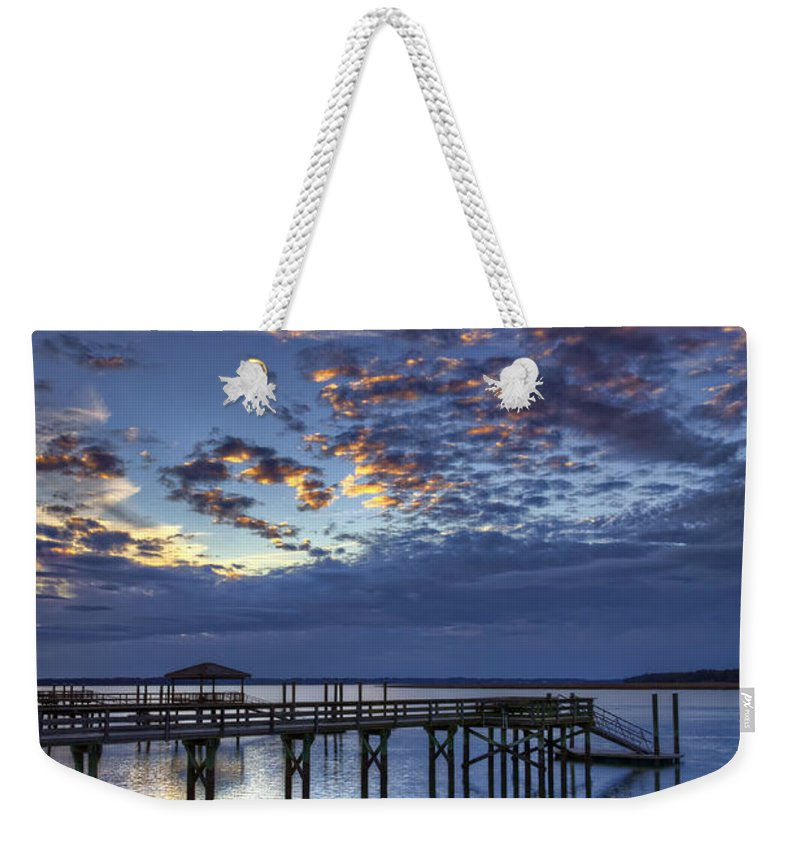 Beaufort County Weekender Tote Bag featuring the photograph Low Tide Long Dock by Phill Doherty