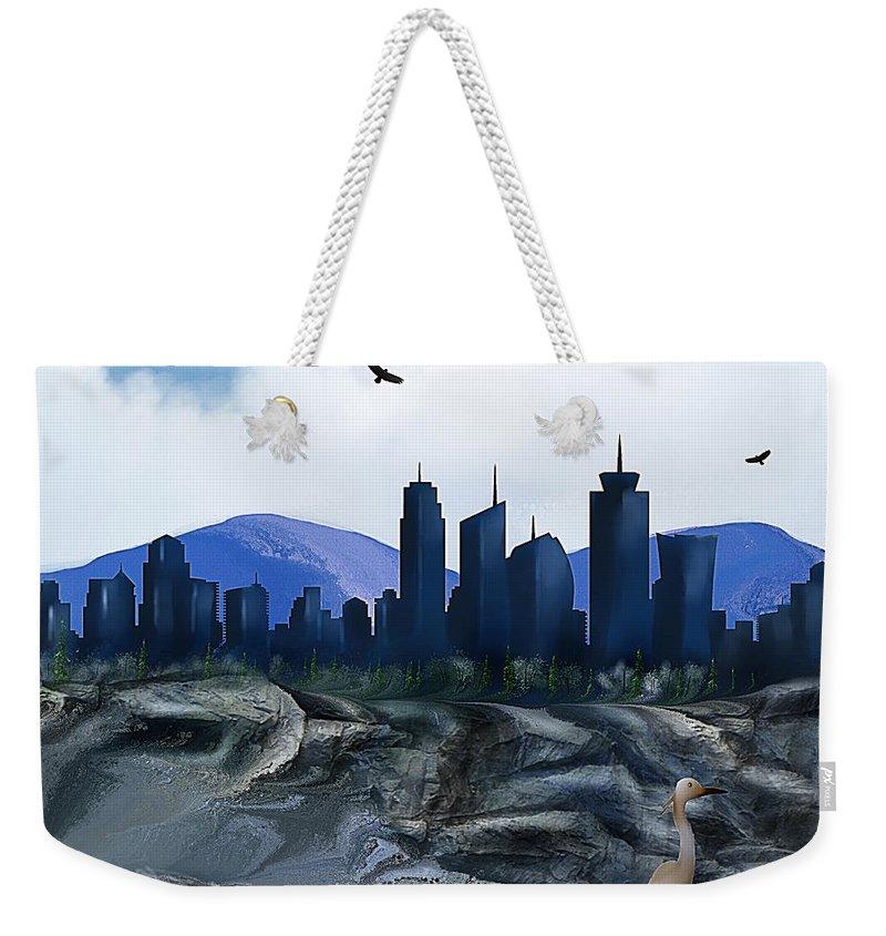 Weekender Tote Bag featuring the digital art Low Tide Sea Side by Artful Oasis