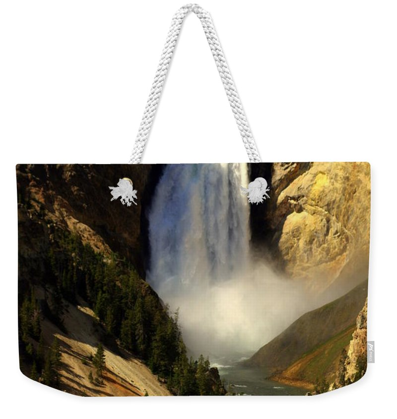 Yellowstone National Park Weekender Tote Bag featuring the photograph Lower Falls 2 by Marty Koch
