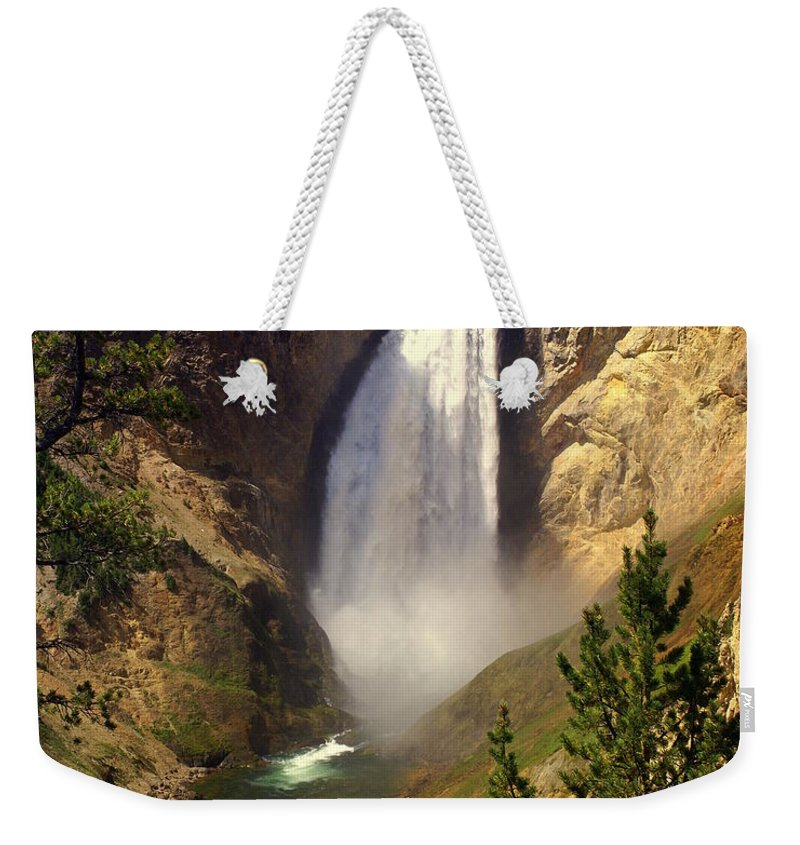 Waterfall Weekender Tote Bag featuring the photograph Lower Falls by Marty Koch