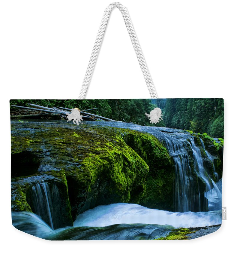 Clearwater Falls Weekender Tote Bag featuring the photograph Lower Lewis Falls 1 by Ingrid Smith-Johnsen