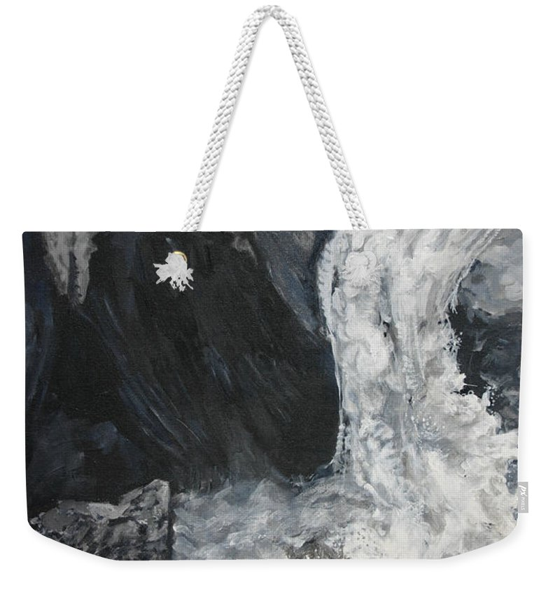 Water Weekender Tote Bag featuring the painting Lower Vernal Black and White by Travis Day